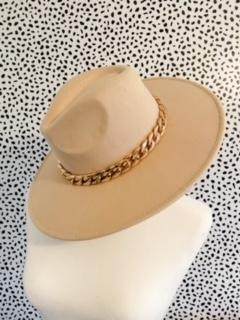 Laney Beige Chain Hat - UntamedFaithBoutique