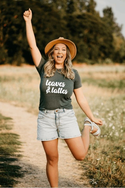 Leaves and Lattes Olive Graphic Tee - UntamedFaithBoutique