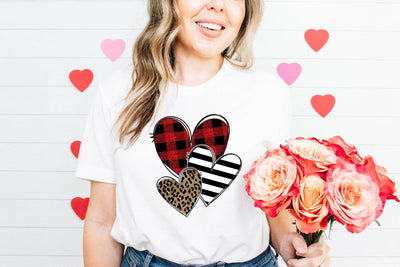 Leopard and Plaid Hearts White Graphic Tee - UntamedFaithBoutique