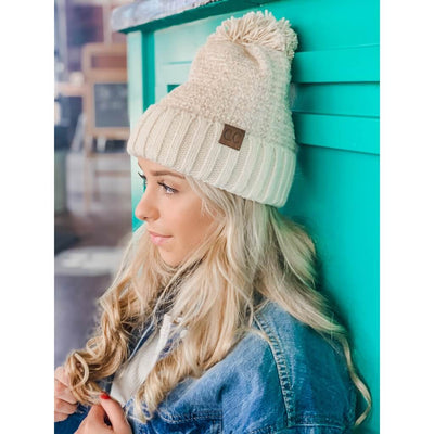 Let's Stay In Pom Ivory Beanie - UntamedFaithBoutique