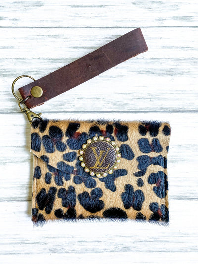 LV Cheetah Leather Wristlet - UntamedFaithBoutique