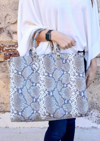 Marci Large Tote Bag Snake Denim - UntamedFaithBoutique