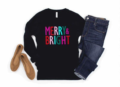 Merry and Bright Black Longsleeve - UntamedFaithBoutique