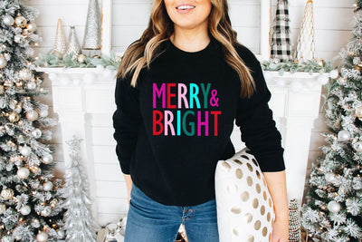 Merry and Bright Black Sweatshirt - UntamedFaithBoutique