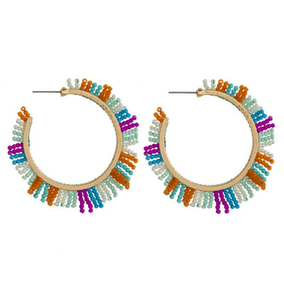 Multi Colored Beaded Hoop Earrings - UntamedFaithBoutique