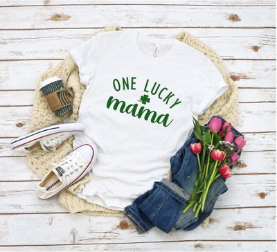 One Lucky Mama White Graphic Tee - UntamedFaithBoutique