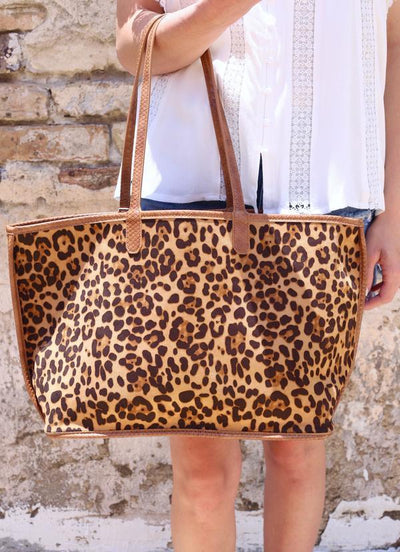 Regina Leopard And Snake Print Trim Tote Brown - UntamedFaithBoutique