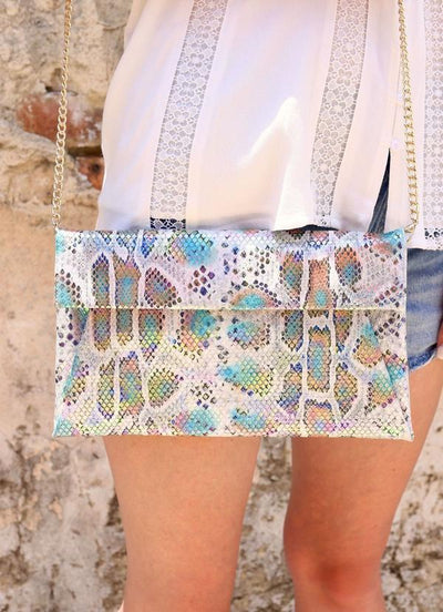 Rena Flat Envelope Crossbody With Chain Strap Snake Multi Hologram - UntamedFaithBoutique