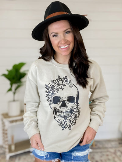 Rose Skull Tan Sweatshirt - UntamedFaithBoutique