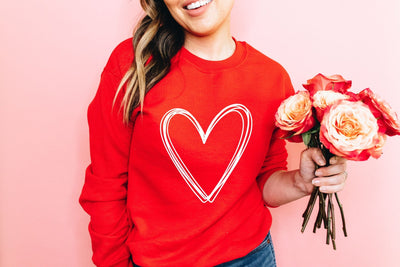 Script Heart Red Sweatshirt - UntamedFaithBoutique