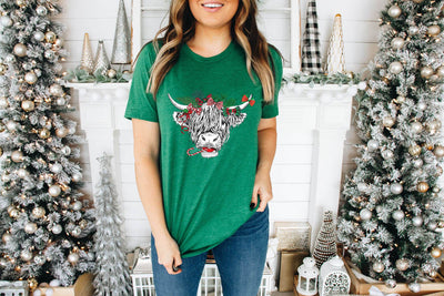 Shaggy Cow Christmas Green Graphic Tee - UntamedFaithBoutique