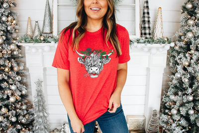 Shaggy Cow Christmas Red Graphic Tee - UntamedFaithBoutique