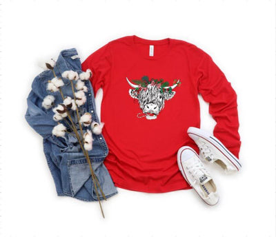 Shaggy Cow Christmas Red Longsleeve - UntamedFaithBoutique