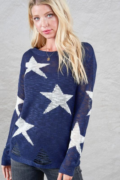 Star Stangled Navy Lightweight Sweater - UntamedFaithBoutique