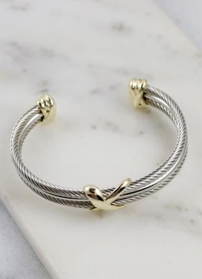 Tessa Three Row Cable Bracelet Gold-Silver - UntamedFaithBoutique