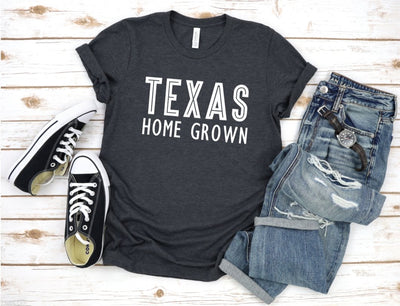 Texas Home Grown Dark Grey Graphic Tee - UntamedFaithBoutique