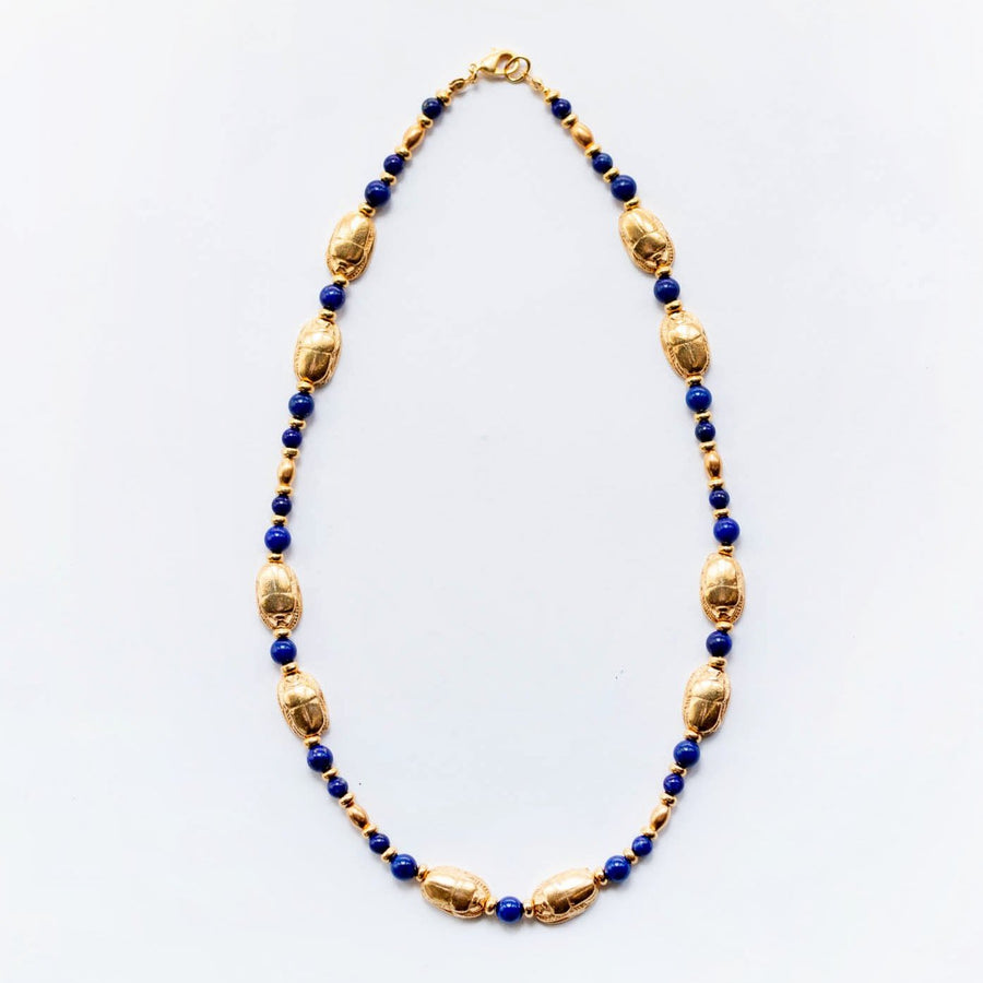 Lapis & Scarab Necklace
