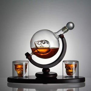 Skull Whiskey Decanter Set with Wooden Base