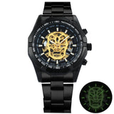 Golden Mechanical Skull Watch