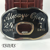 "Beer Bottle Opening Belt Buckle ""Always Open"""
