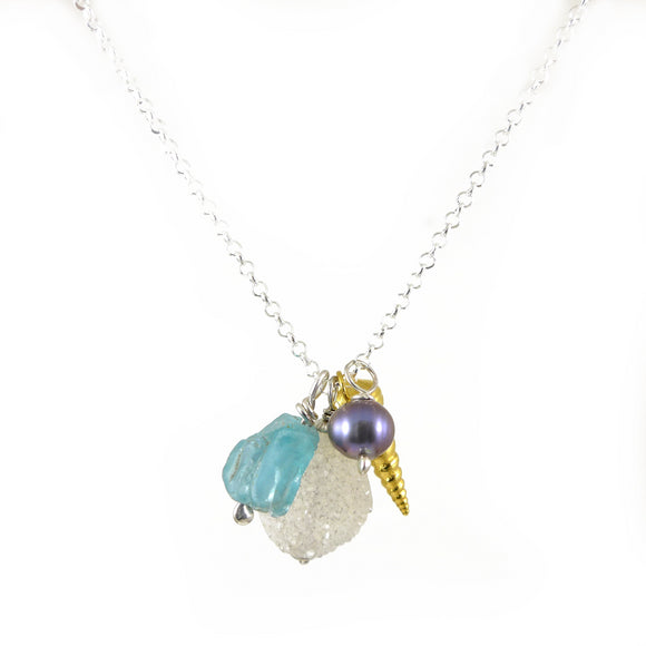 Gold Shell and Gemstone Necklace