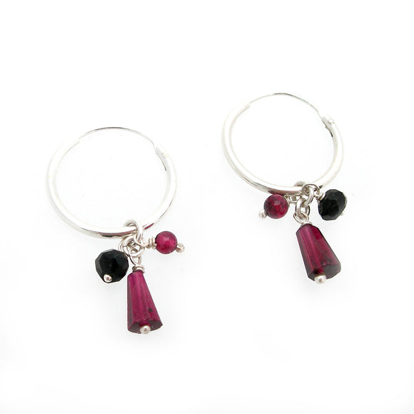 Garnet & Onyx Hoop Earrings - karen-morrison-jewellery