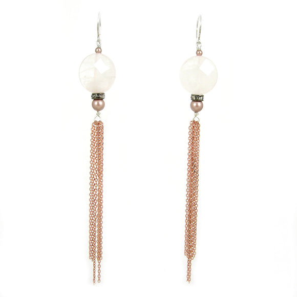 Rose Quartz Long Earrings - karen-morrison-jewellery