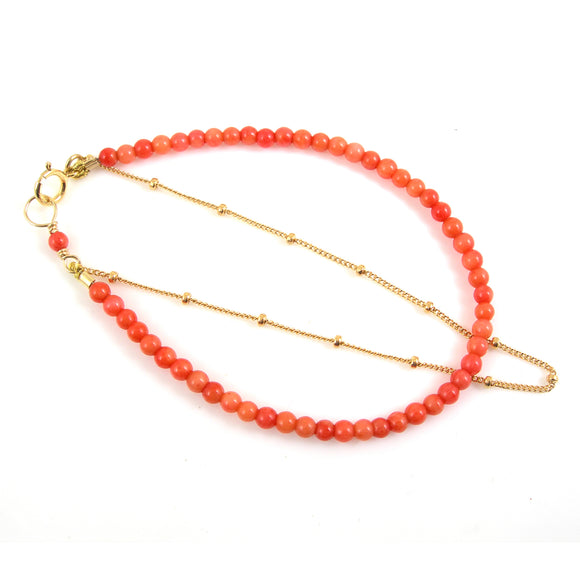 Coral and Gold Filled Bracelet - karen-morrison-jewellery