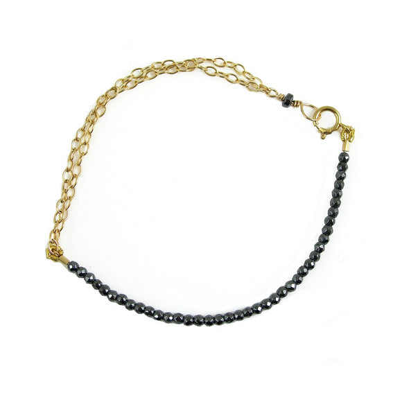 Hematite and Gold Bracelet - karen-morrison-jewellery