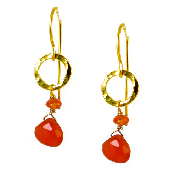 Carnelian Gold Earrings - karen-morrison-jewellery