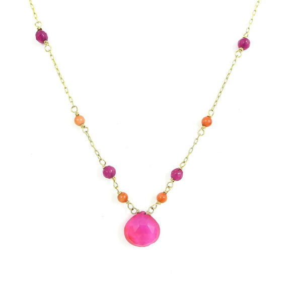 Fuschia Pink Gawa and Coral Necklace - karen-morrison-jewellery