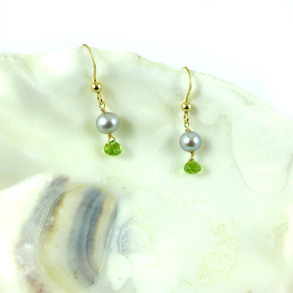 Peridot & Grey Pearl Earrings
