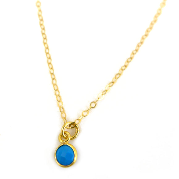 Tiny Turquoise and Gold Necklace