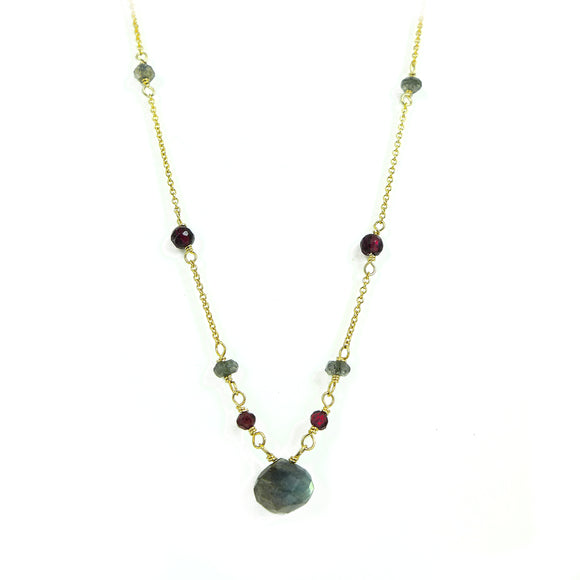 Labradorite & Garnet Gold Necklace - karen-morrison-jewellery