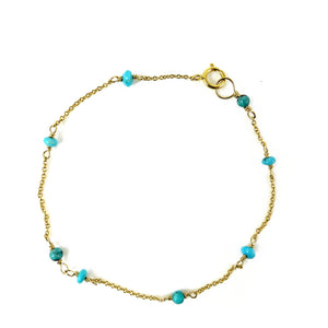 Turquoise and Gold Bracelet - karen-morrison-jewellery