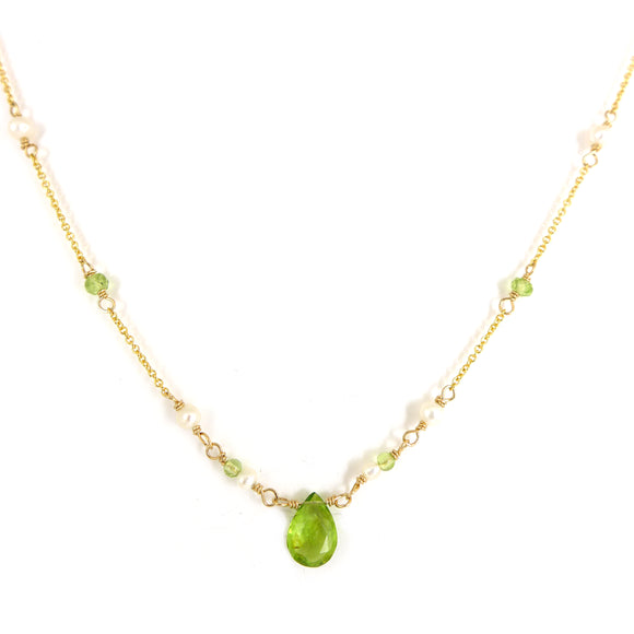 Peridot and Pearl Gold Necklace - karen-morrison-jewellery