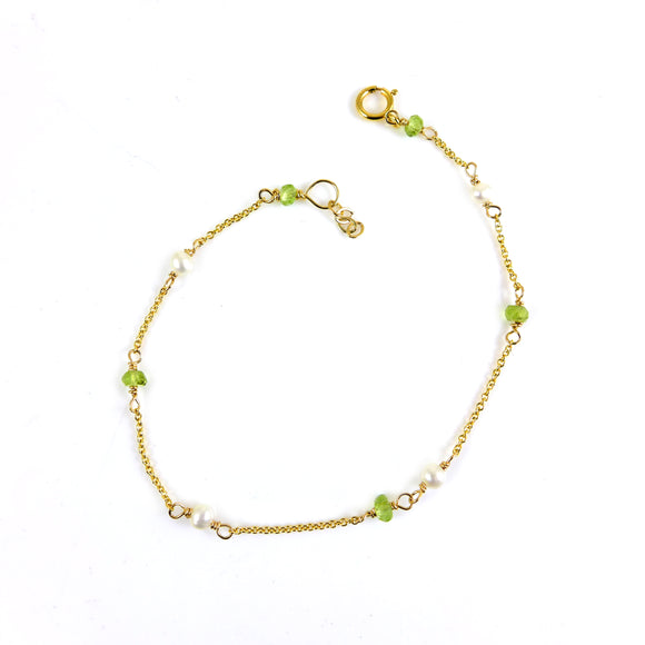 Peridot and Pearl Gold Bracelet - karen-morrison-jewellery