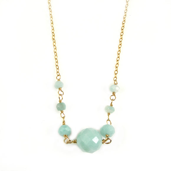 Amazonite Gold Necklace - karen-morrison-jewellery