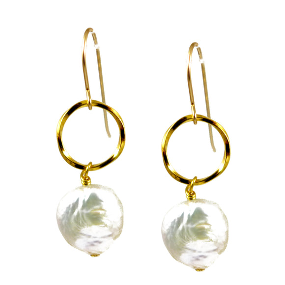 Pearl and Gold Ring Earrings