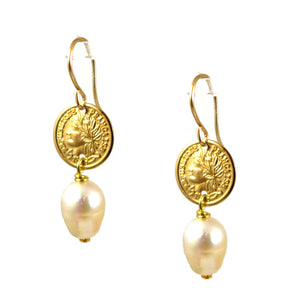 Pearl and Gold Coin Earrings