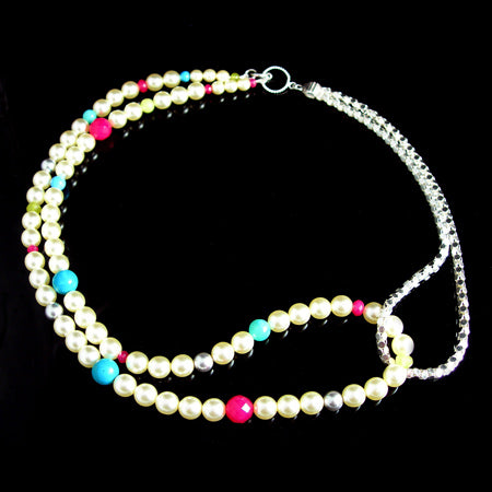 Multi coloured gemstone pearl necklace