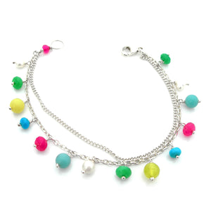 Multi coloured gemstone pearl bracelet
