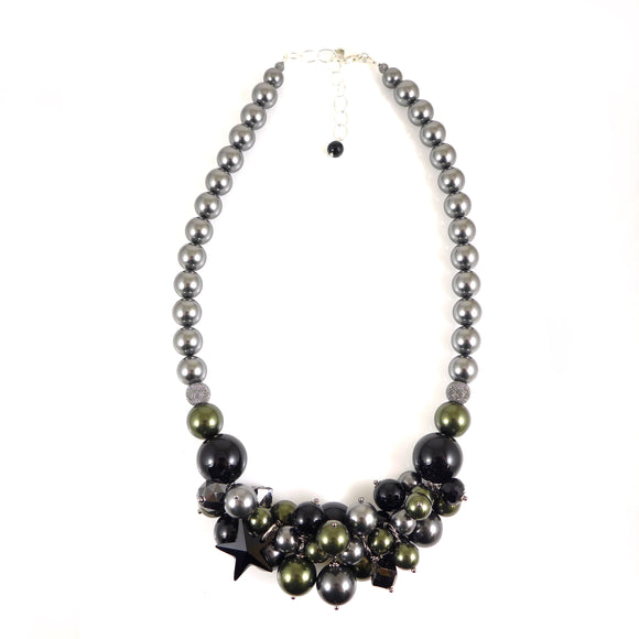 Grey Swarovski Pearl Statement necklace