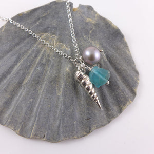 Spiral Shell and Pearl Necklace - karen-morrison-jewellery