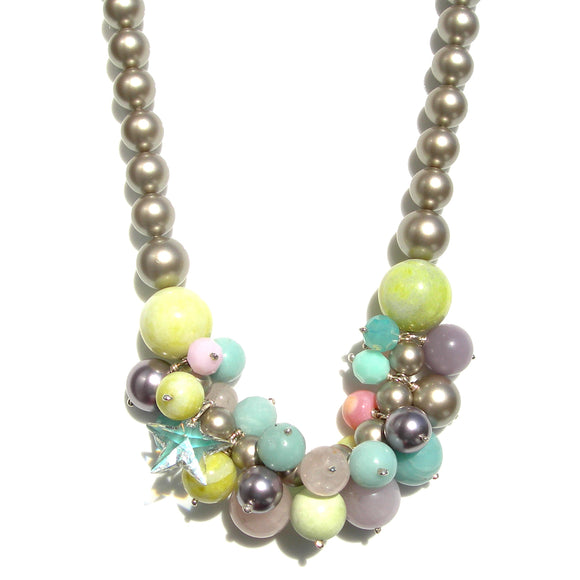 Gemstone & Swarovski Pearl Statement necklace - karen-morrison-jewellery