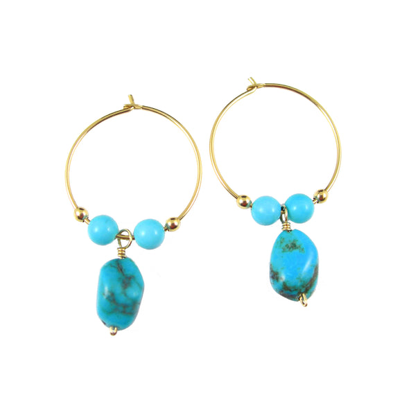 Turquoise & Gold Earrings - karen-morrison-jewellery