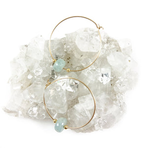 Aquamarine Gold Hoop Earrings - karen-morrison-jewellery