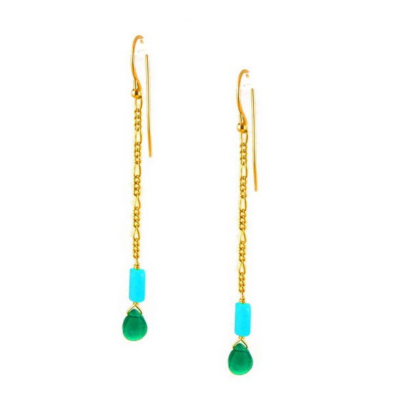 Green Agate & Amazonite Earrings - karen-morrison-jewellery