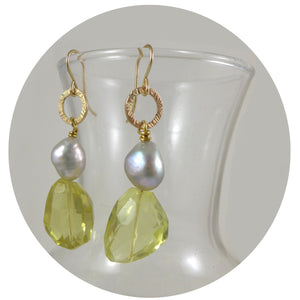 Lemon Quartz and Pearl earrings - karen-morrison-jewellery