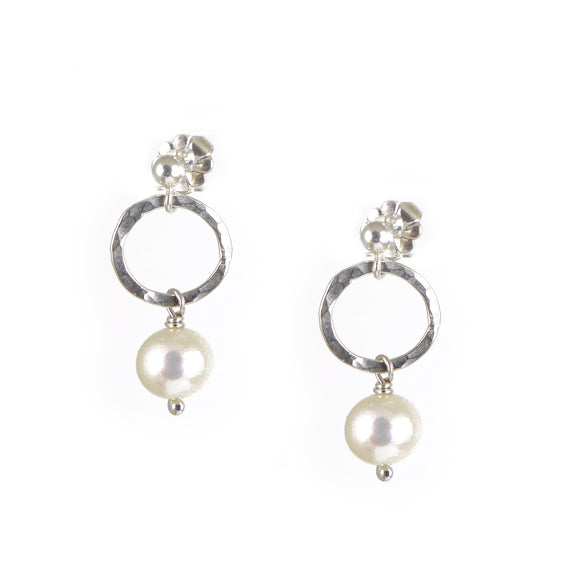 White Pearl Silver Earrings - karen-morrison-jewellery